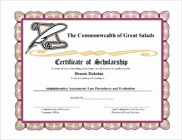 7 Scholarship Certificate Templates Word Psd