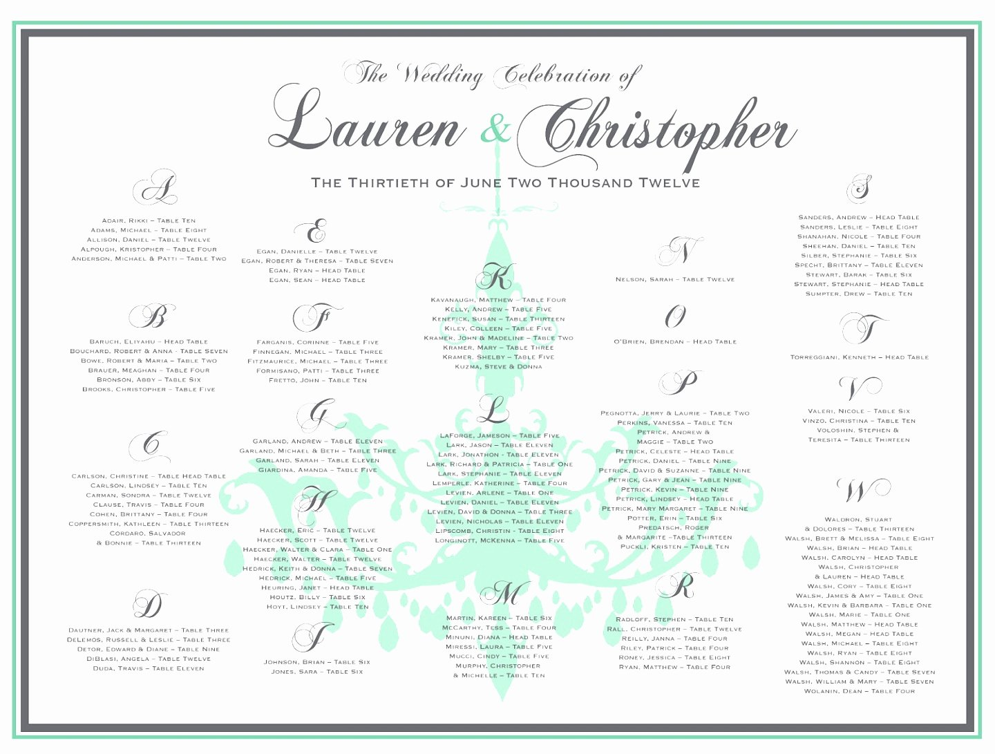 7 Seating Chart Template for Wedding Reception Yyrto