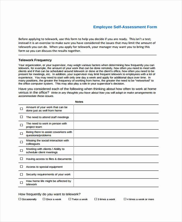 7 Self assessment form Samples Free Sample Example