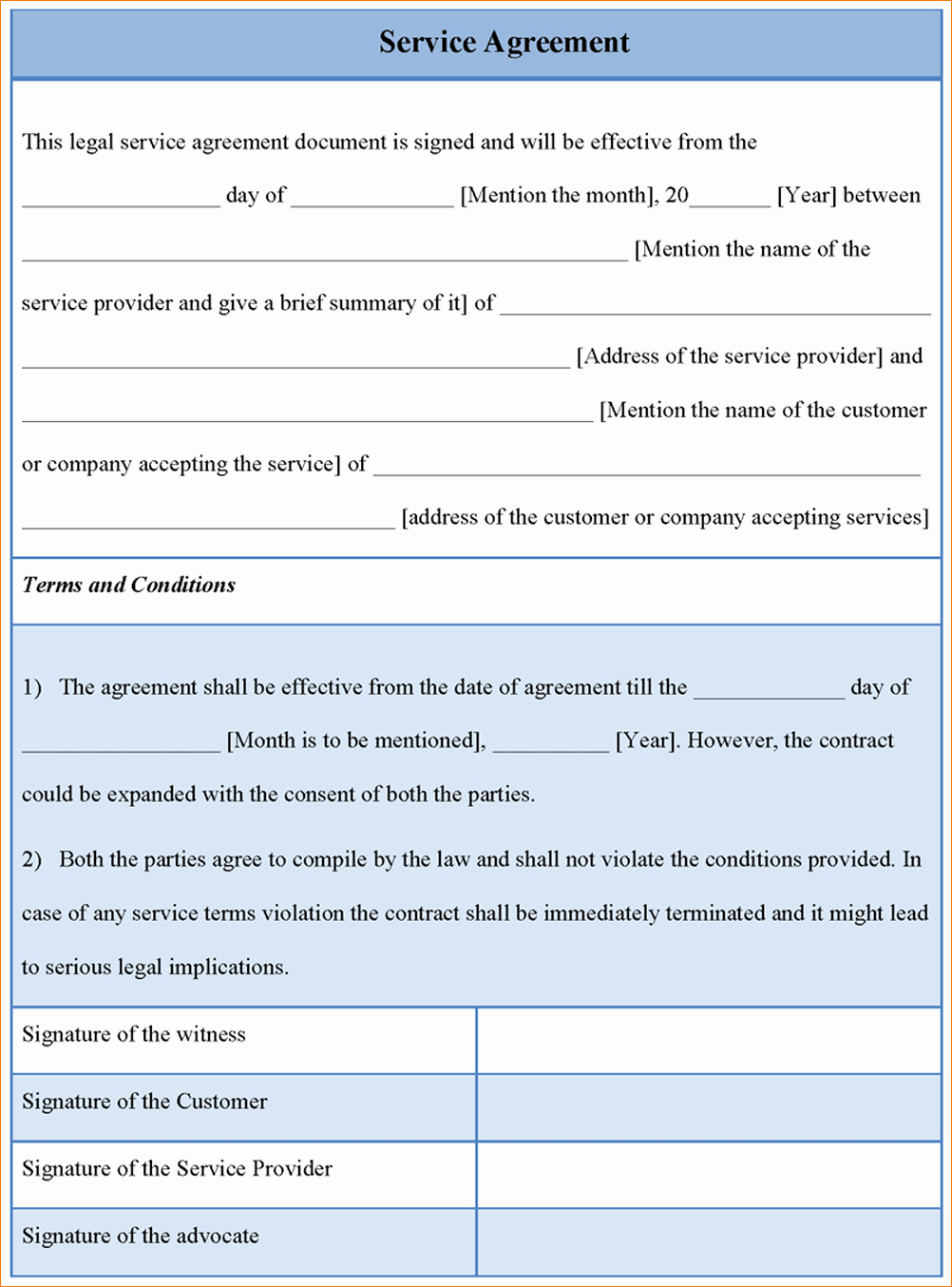 7 Service Agreement Contract Template