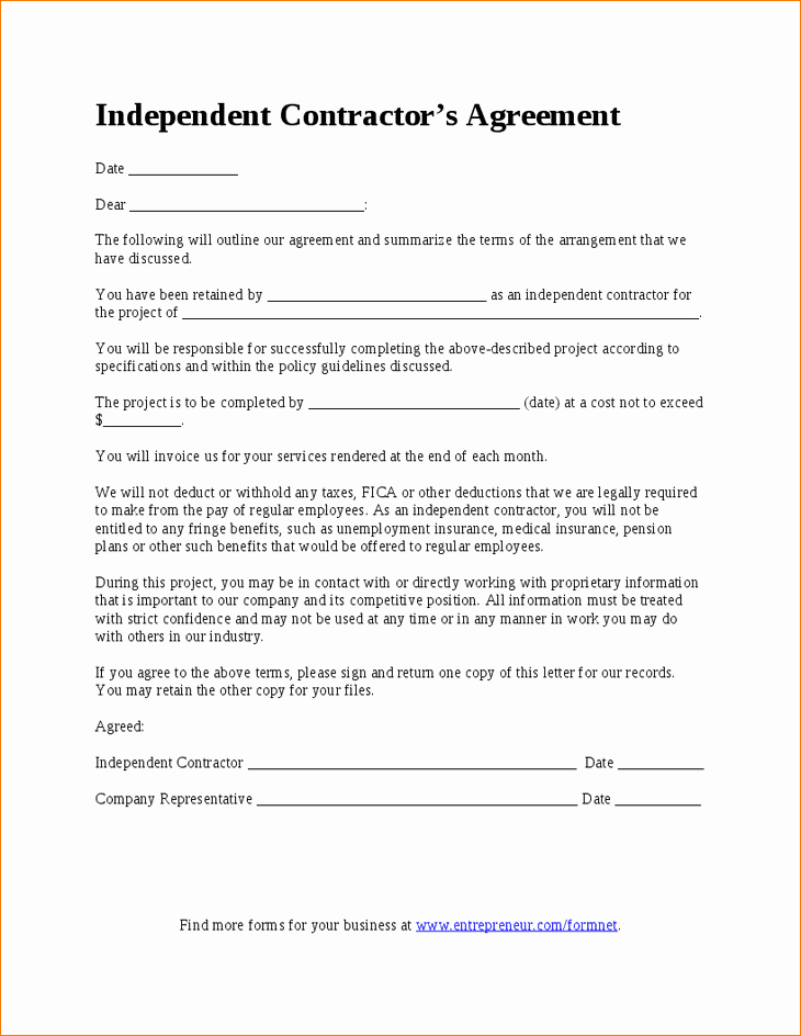 7 Simple Independent Contractor Agreement