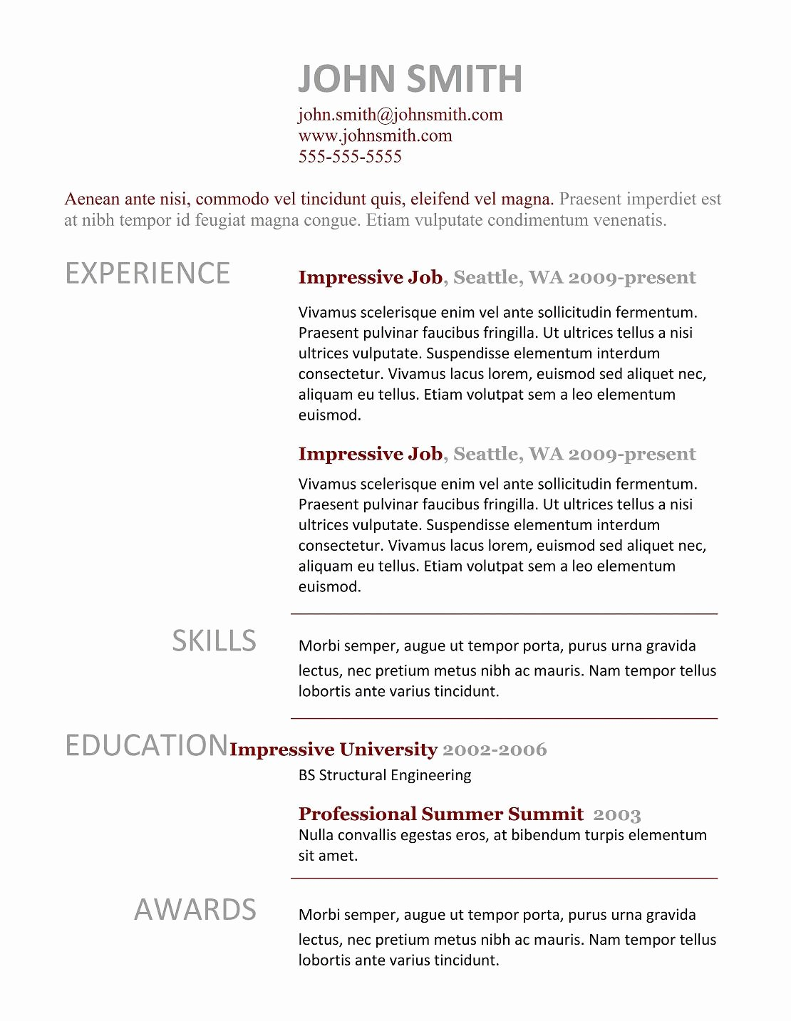 7 Simple Resume Templates Free