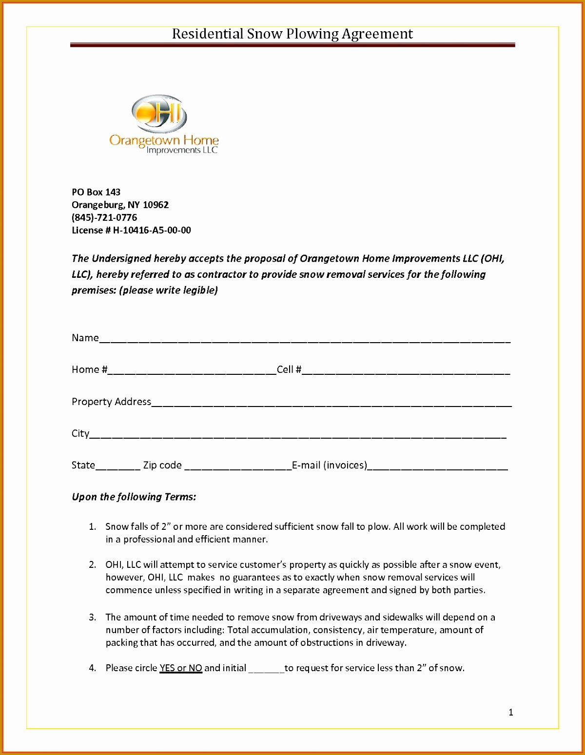 7 Snow Removal Contract Template