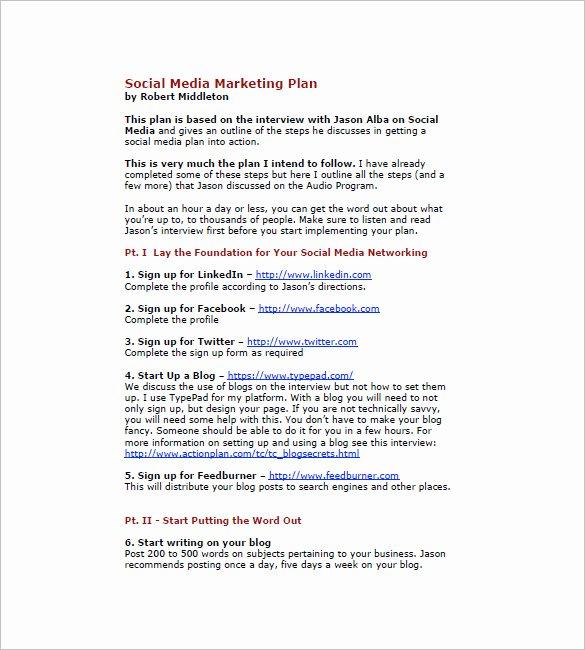 7 social Media Marketing Plan Templates Doc Pdf