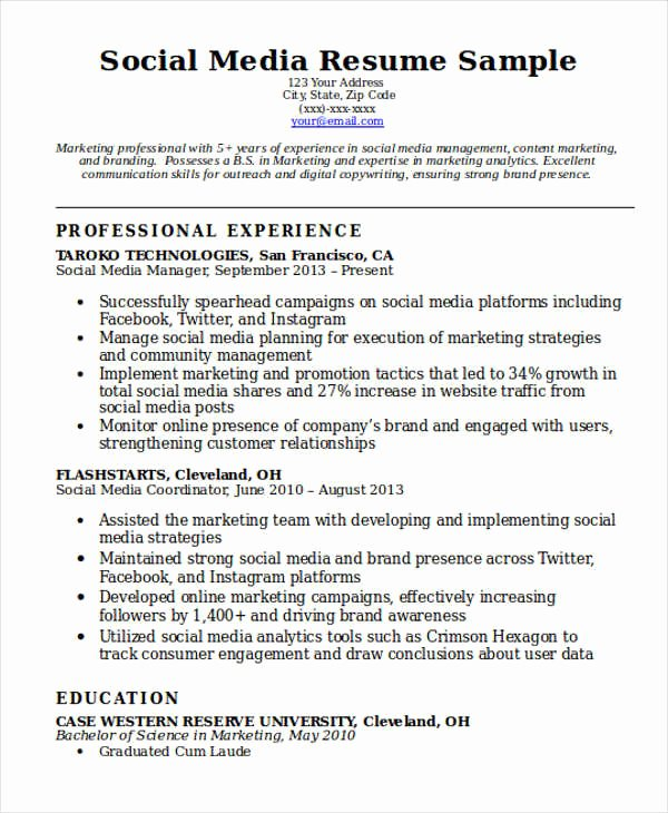 7 social Media Resume Templates Pdf Doc