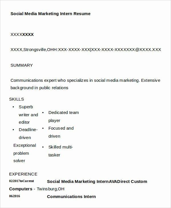 7 social Media Resumes Free Samples Examples formats