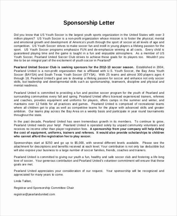7 Sports Sponsorship Letter Samples – Pdf