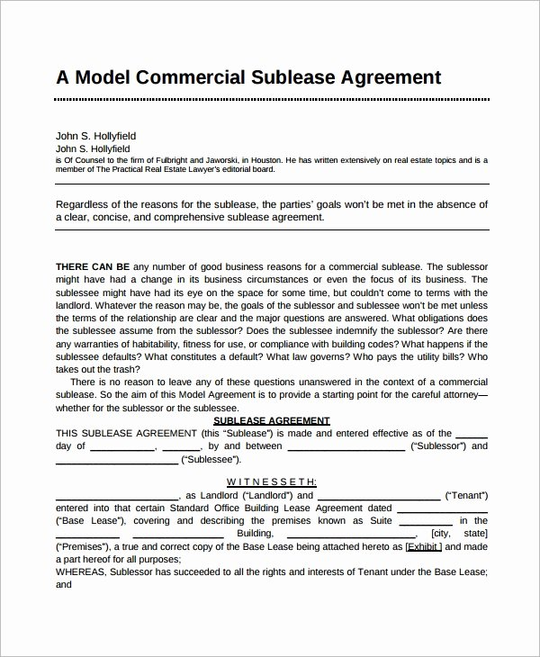 7 Sublease Agreement Samples