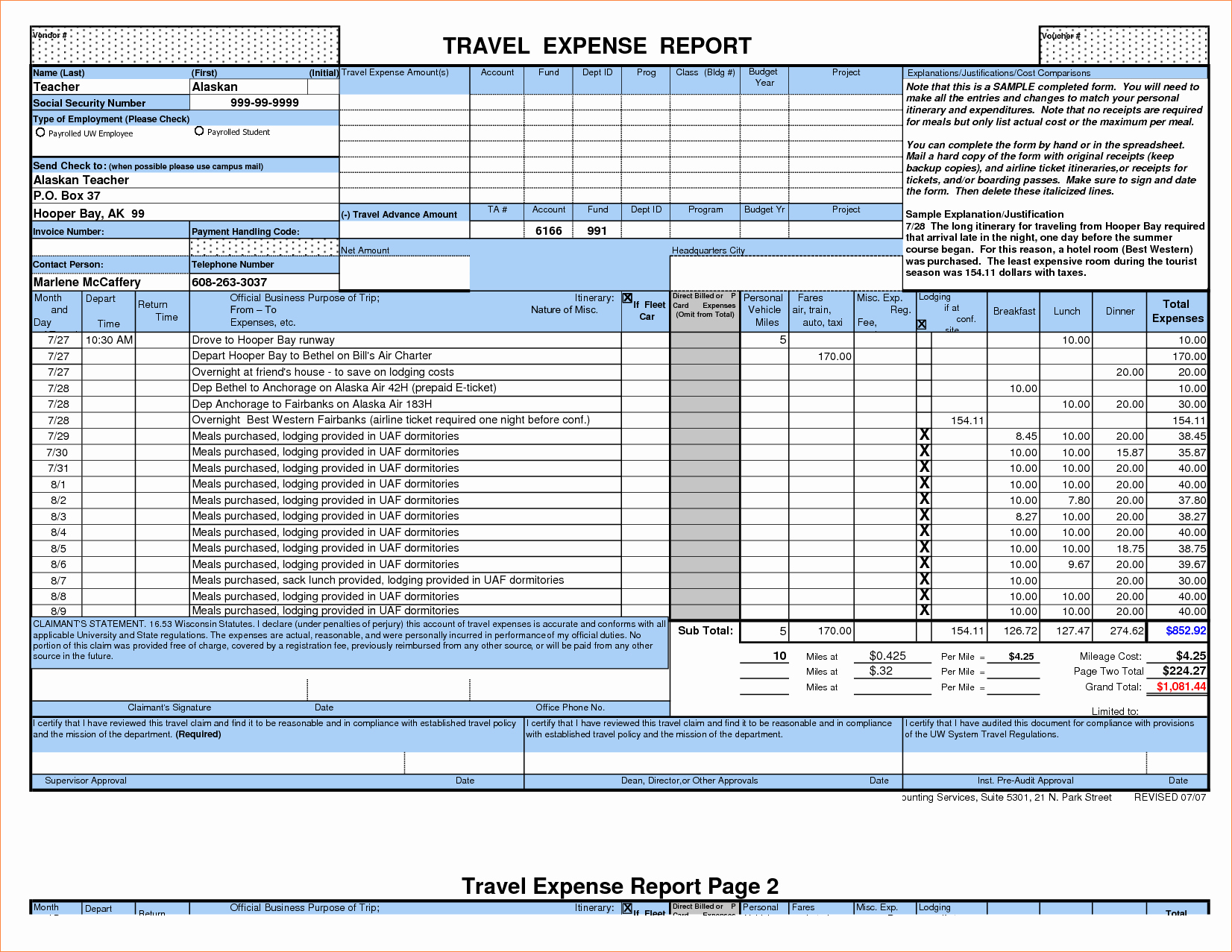 7 Travel Expense Report Template