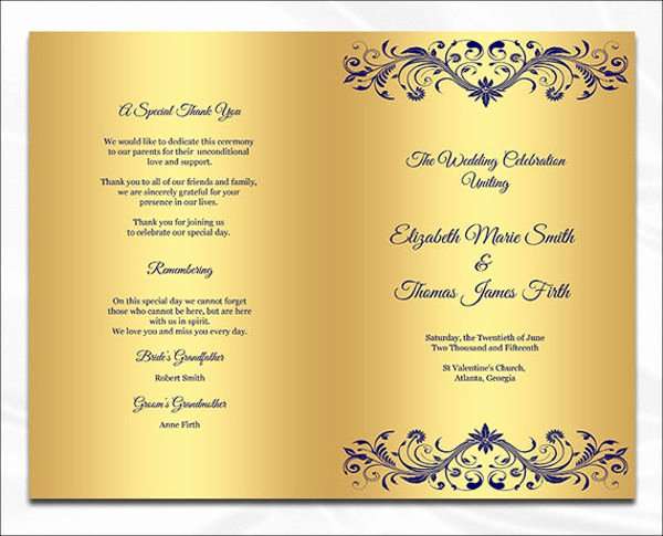 7 Wedding Dinner Program Templates Psd Ai