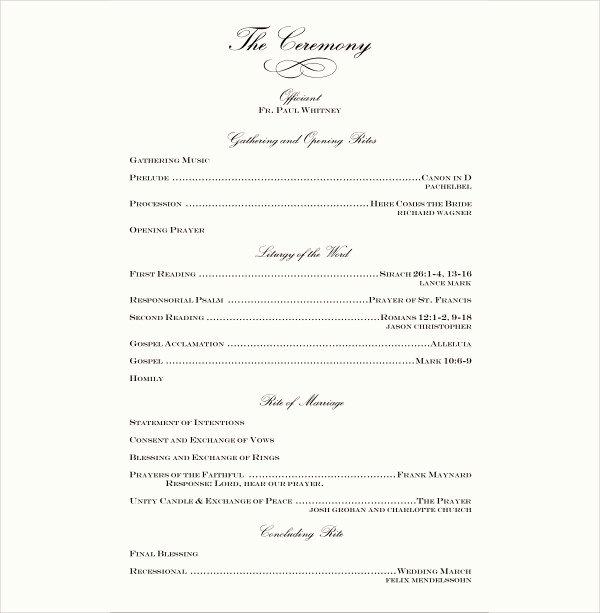 7 Wedding Reception Program Templates Psd Vector Eps