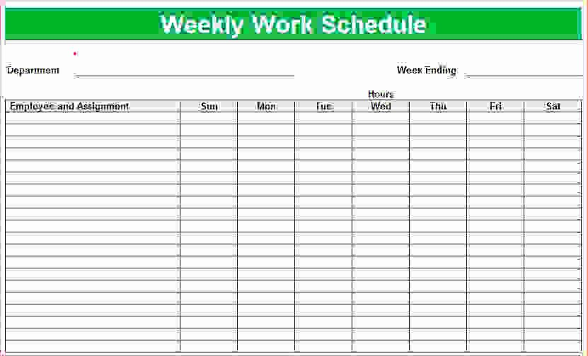7 Weekly Employee Schedule Template