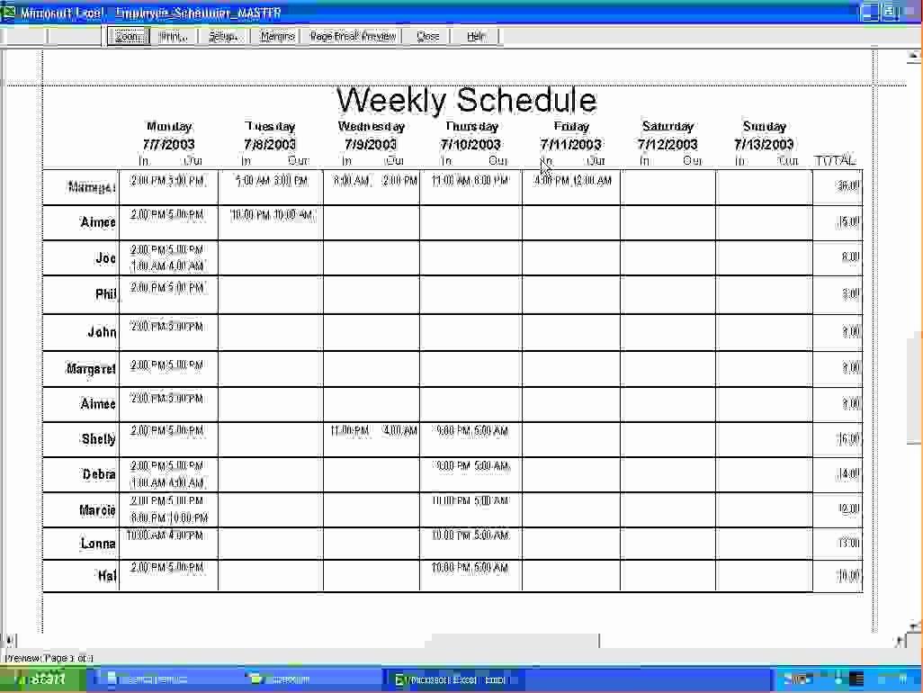 7 Weekly Employee Schedule Template