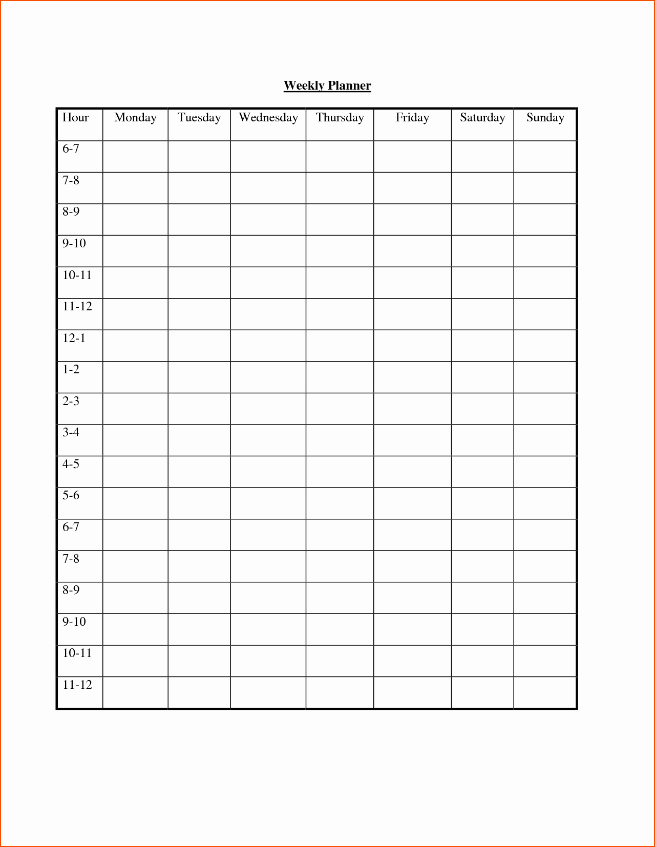 7 Weekly Hourly Planner Bookletemplate
