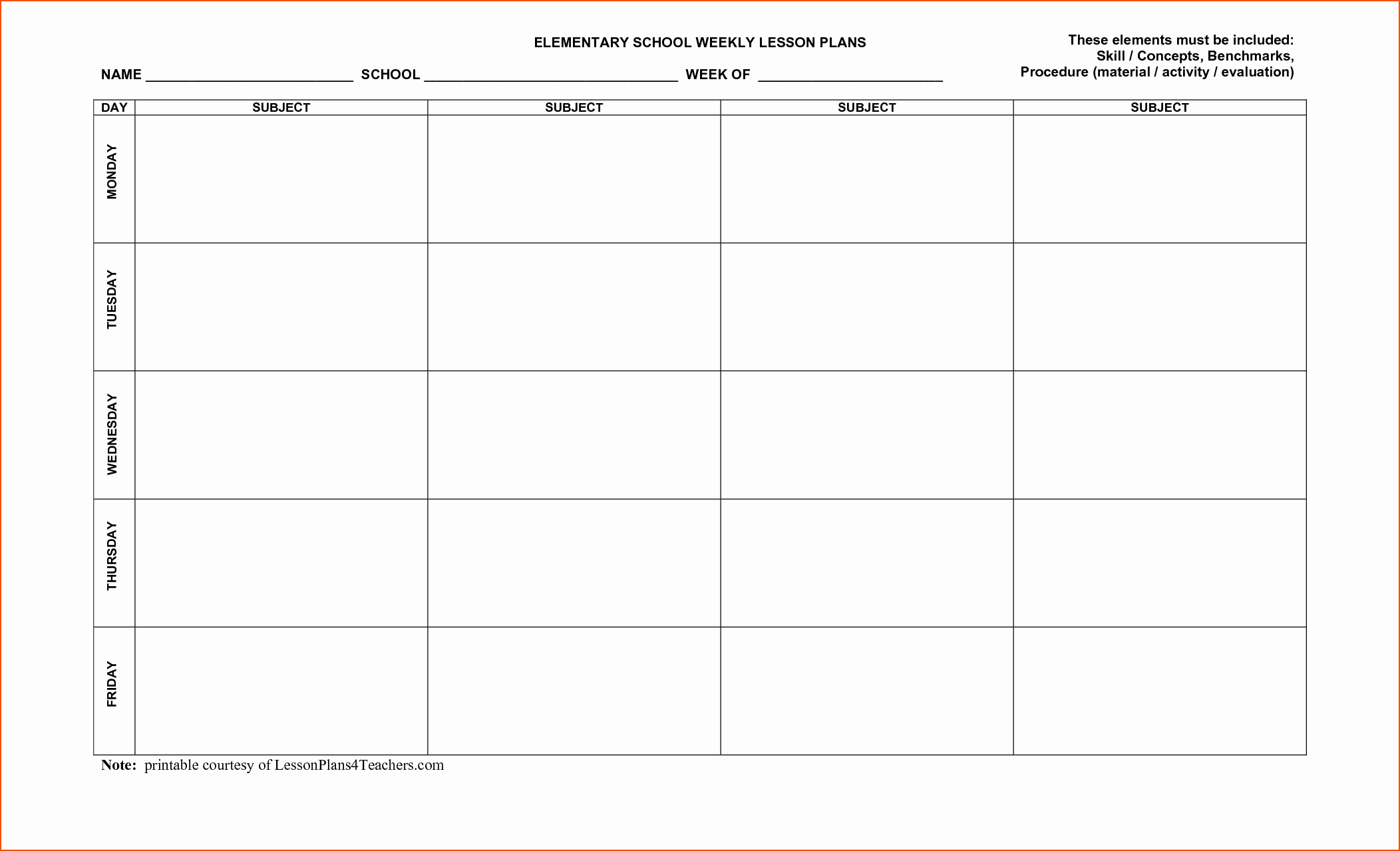 7 Weekly Lesson Plan Template Bookletemplate