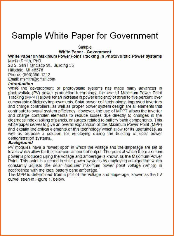 7 White Paper format Template Bud Template Letter