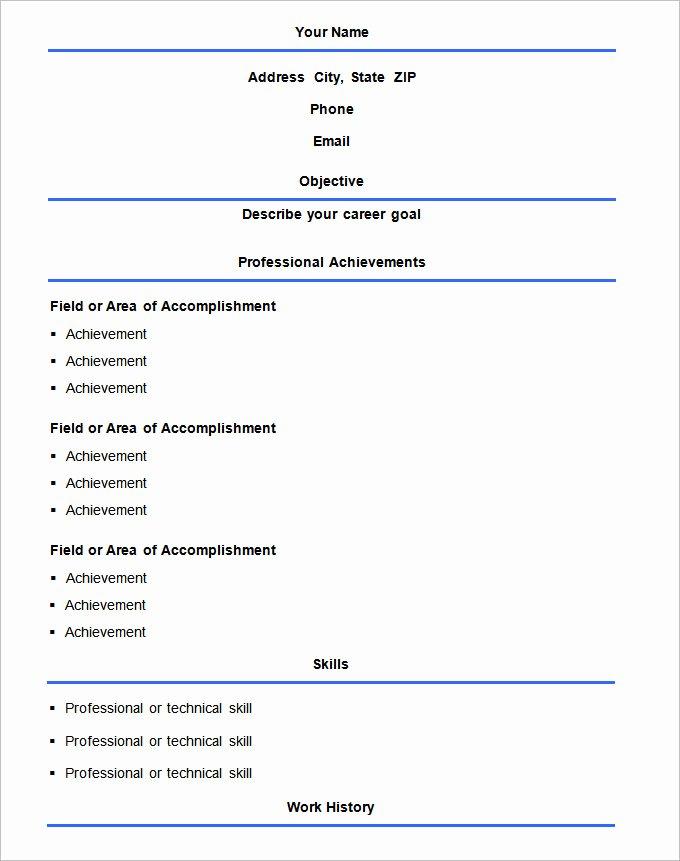 70 Basic Resume Templates Pdf Doc Psd