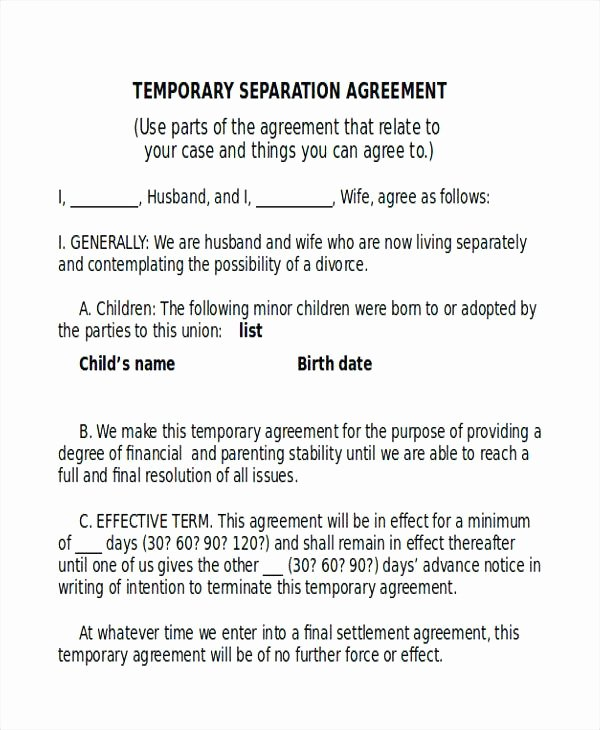 76 Elegant Virginia Separation Agreement Template