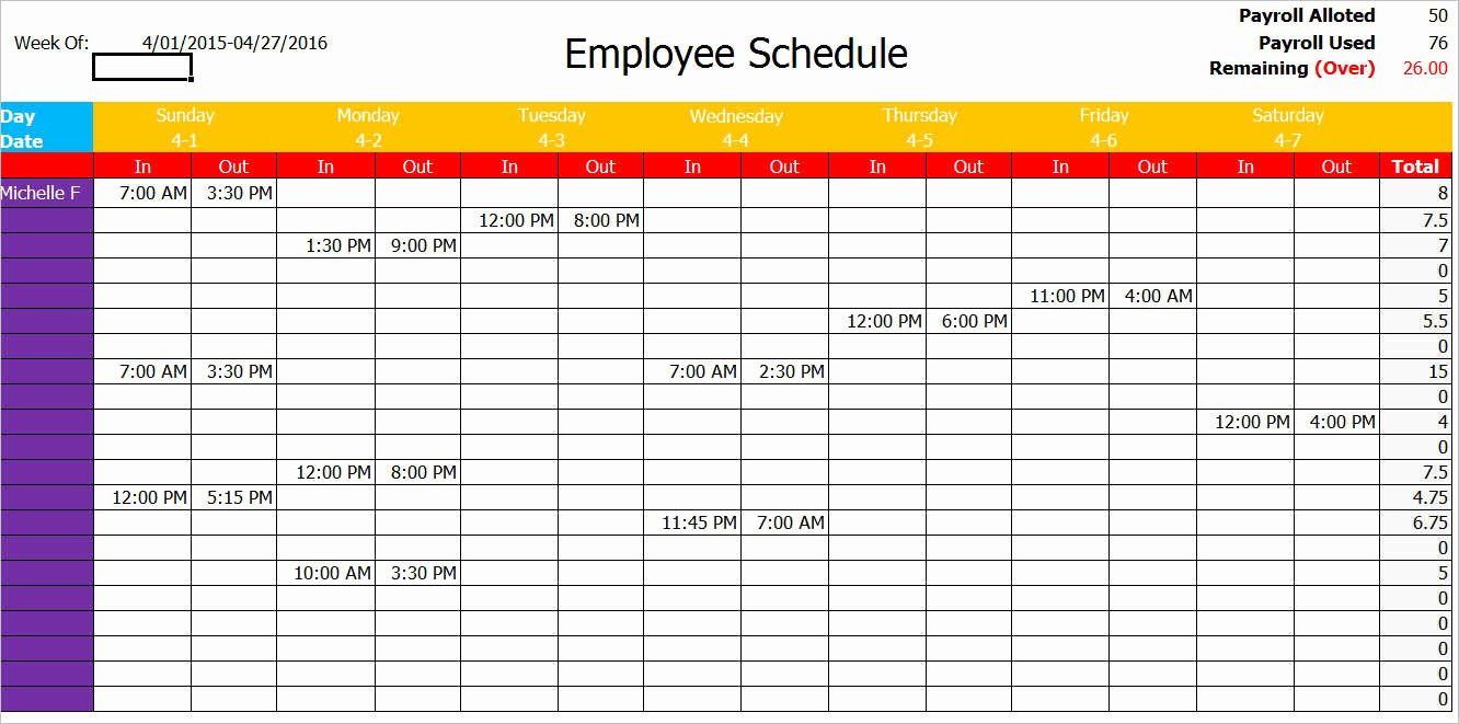 77 Work Schedule Templates Free Word Excel Pdf formats