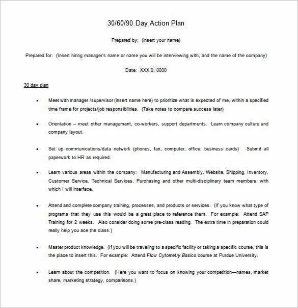 8 30 60 90 Day Action Plan Templates Doc Pdf