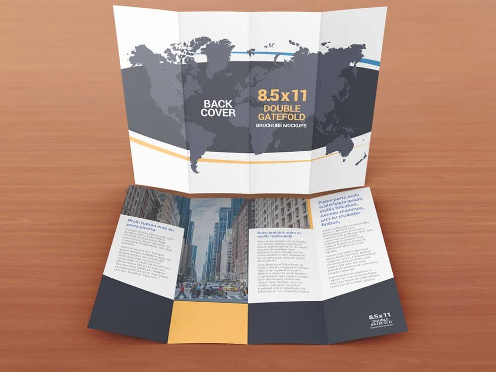 8 5 X 11 Double Gate Fold Brochure Mockups
