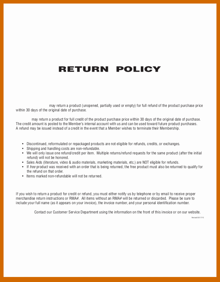 8 9 No Refund Policy Example