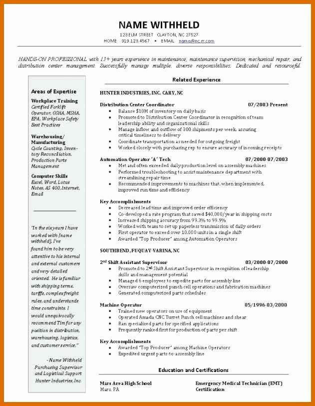 8 9 Warehouse Manager Resume