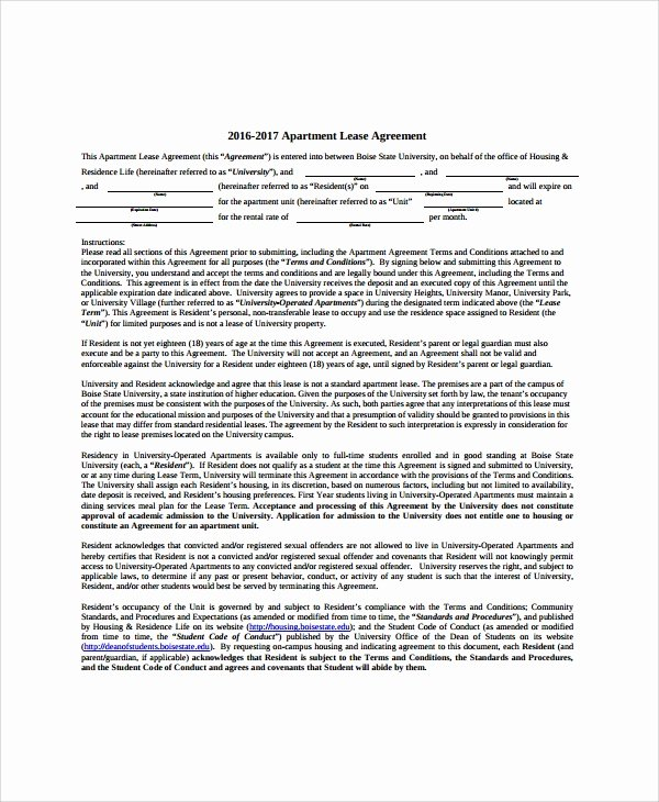8 Apartment Lease Agreement Samples Examples Templates