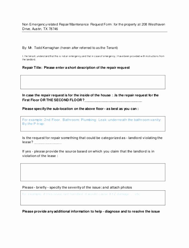 8 Apartment Maintenance Request form Template Eerzr