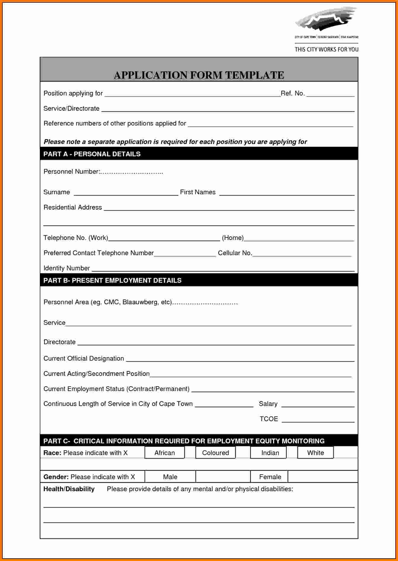 8 Application form Template