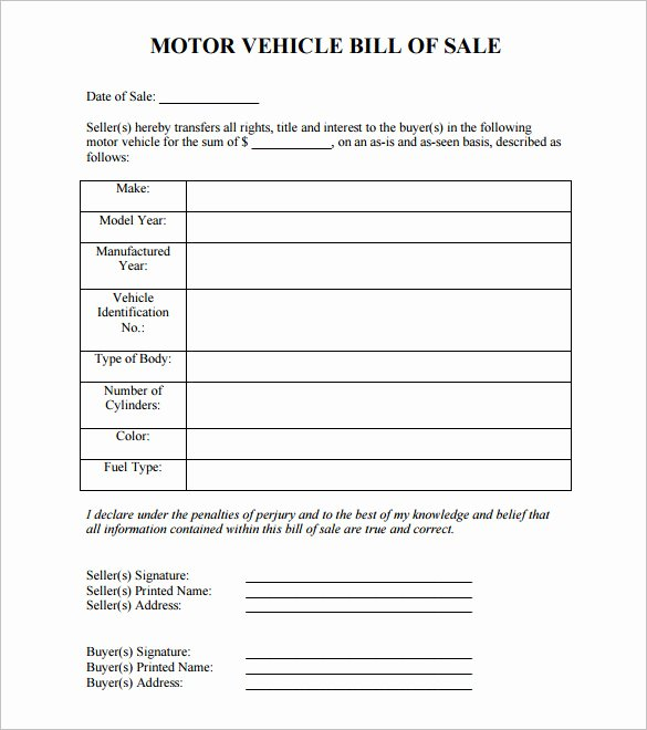 8 Auto Bill Of Sale Doc Pdf