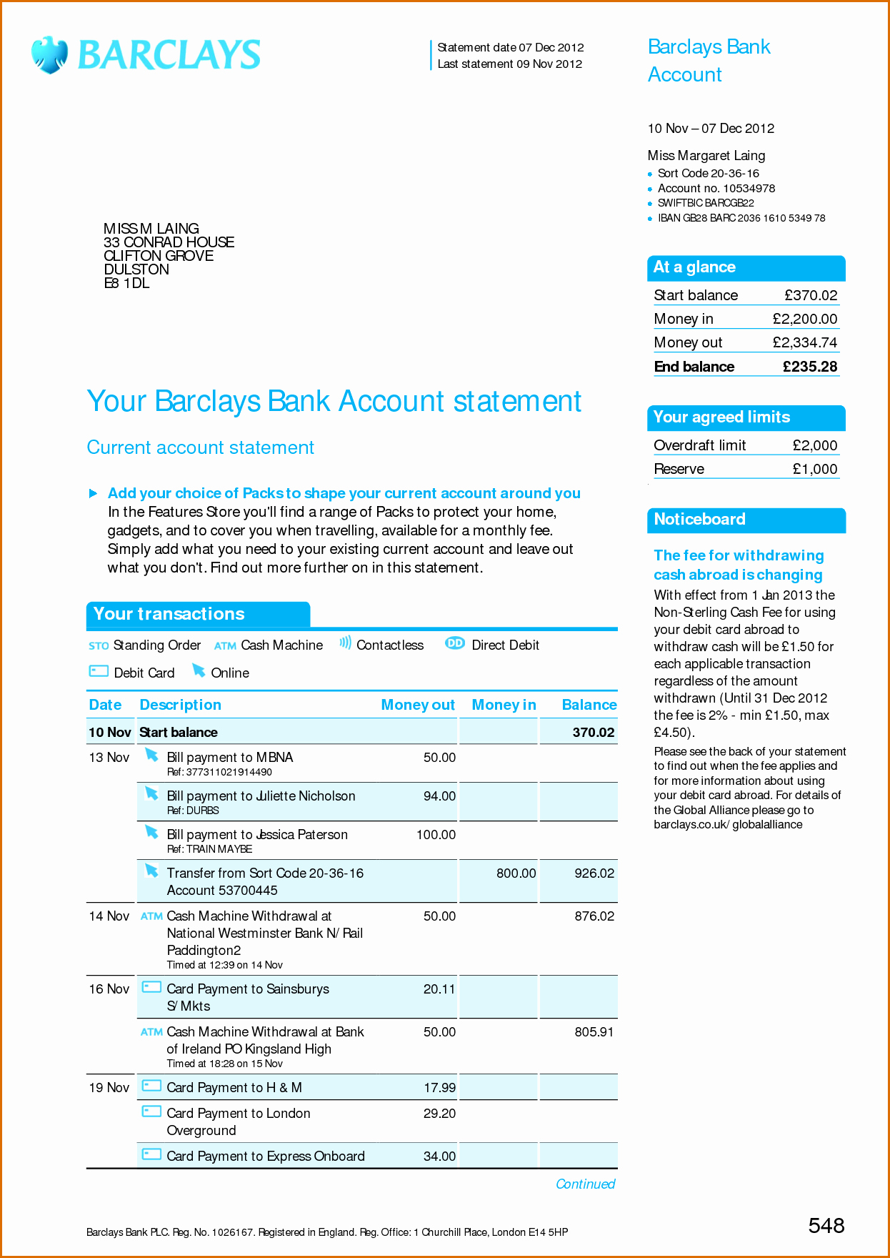 8 Bank Statement Template