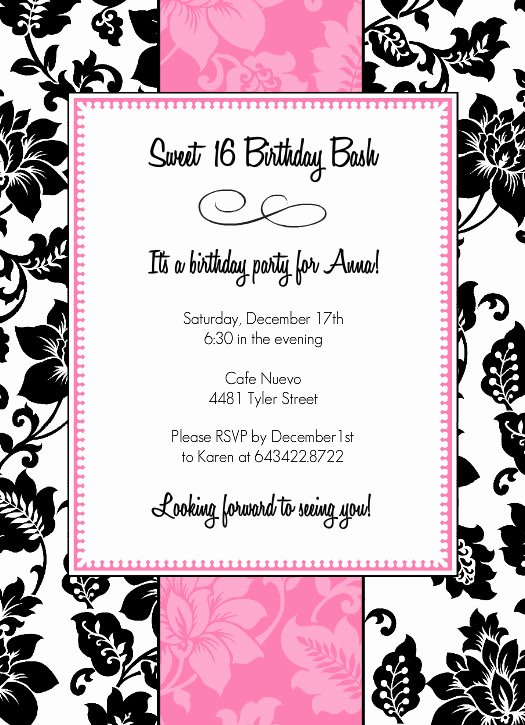 8 Best Of 16th Birthday Invitations Free Printable