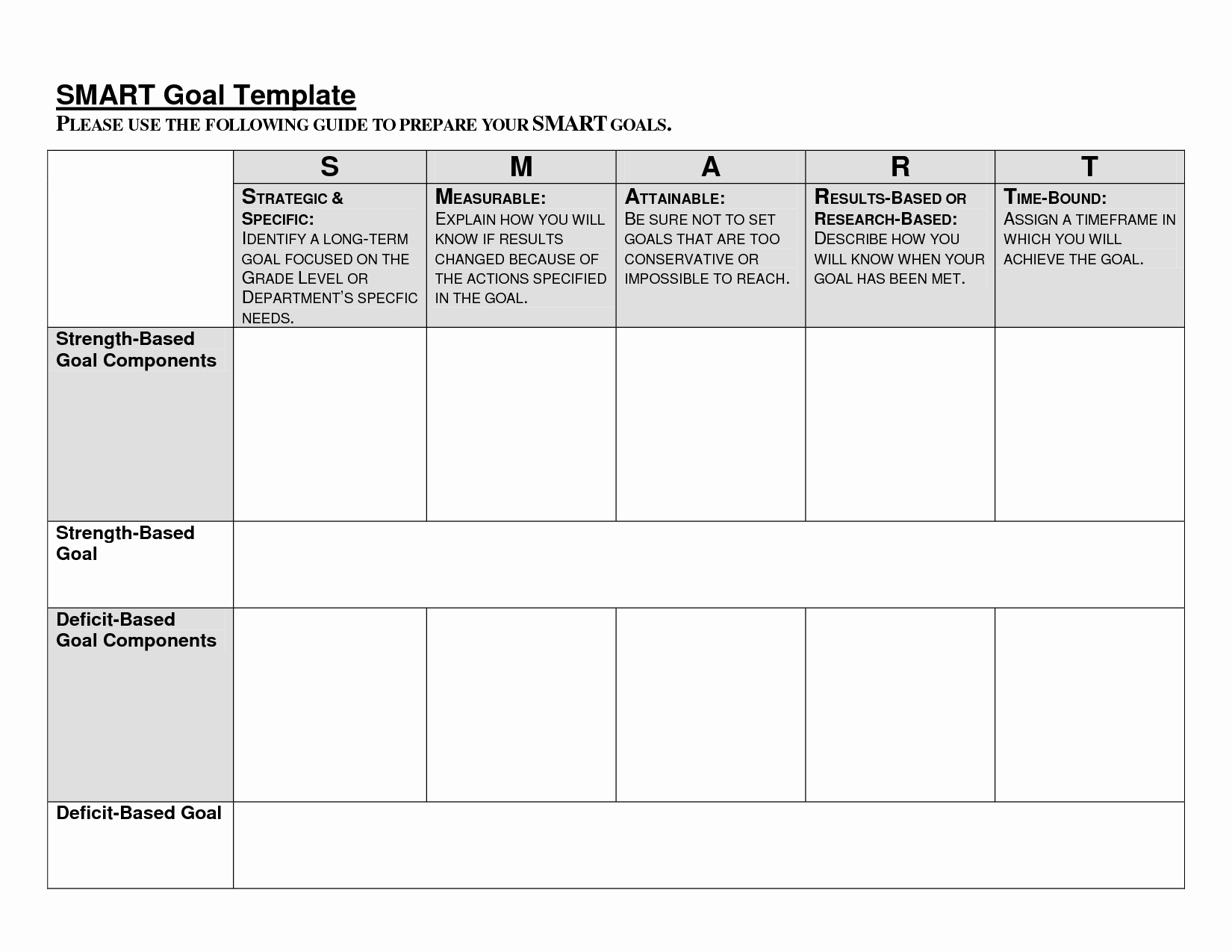 8 Best Of Blank Printable Goals Template Smart