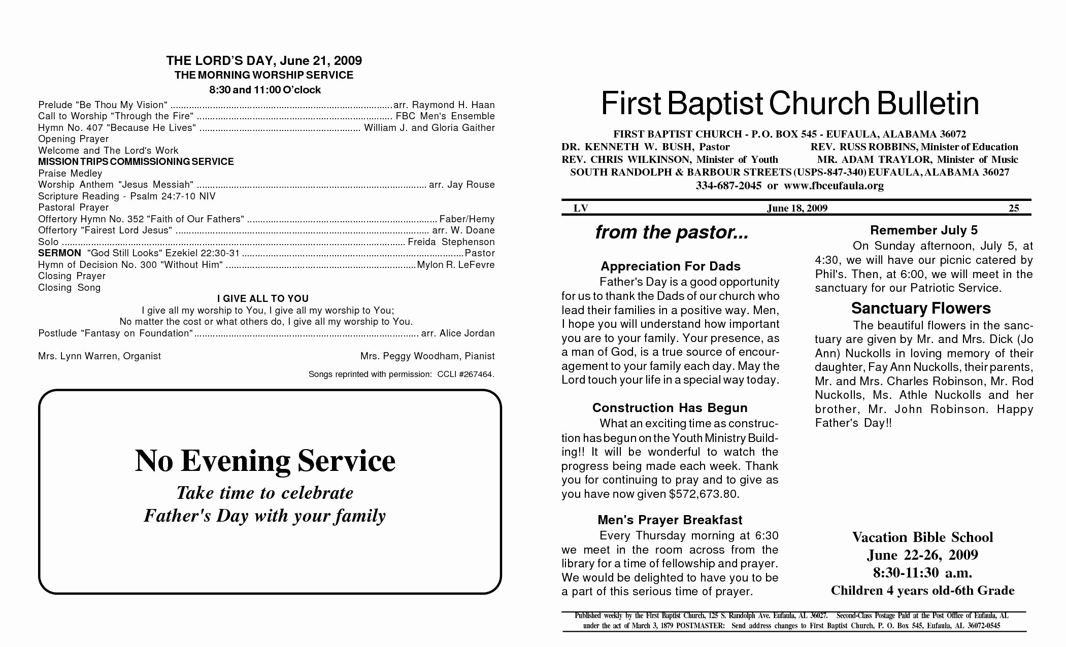 8 Best Of Church Bulletin Templates Free Printable