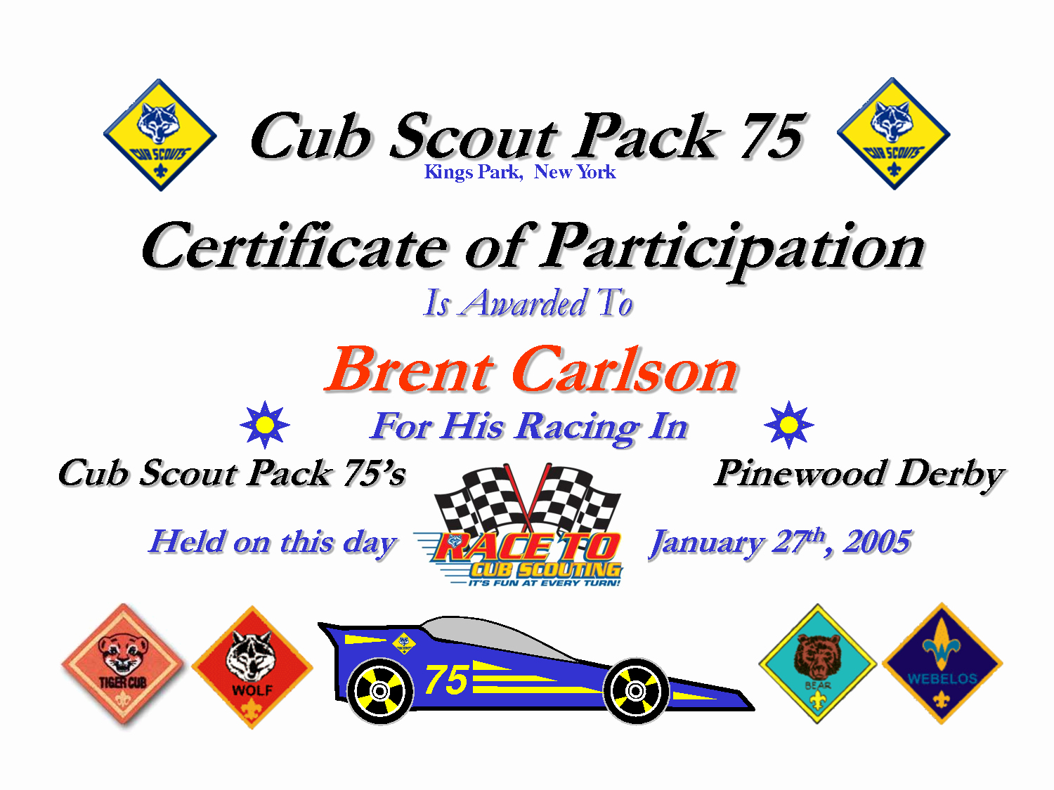 image about Free Printable Pinewood Derby Certificates identify 8 Perfect Of Cub Scout Printable Certification Cub Latter