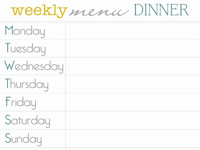 8 Best Of Dinner Menu Planner Template Printable
