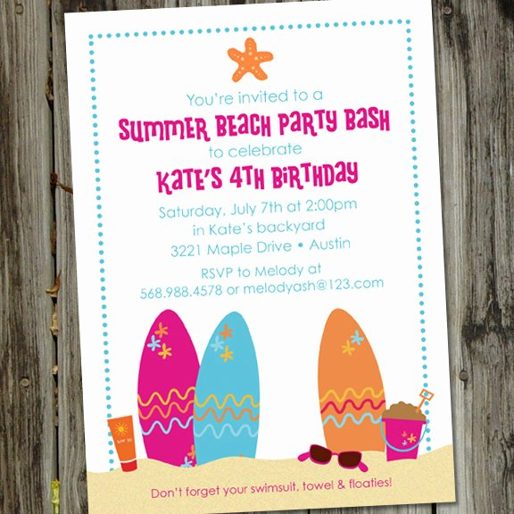 8 Best Of Free Beach Printable Birthday Invitations