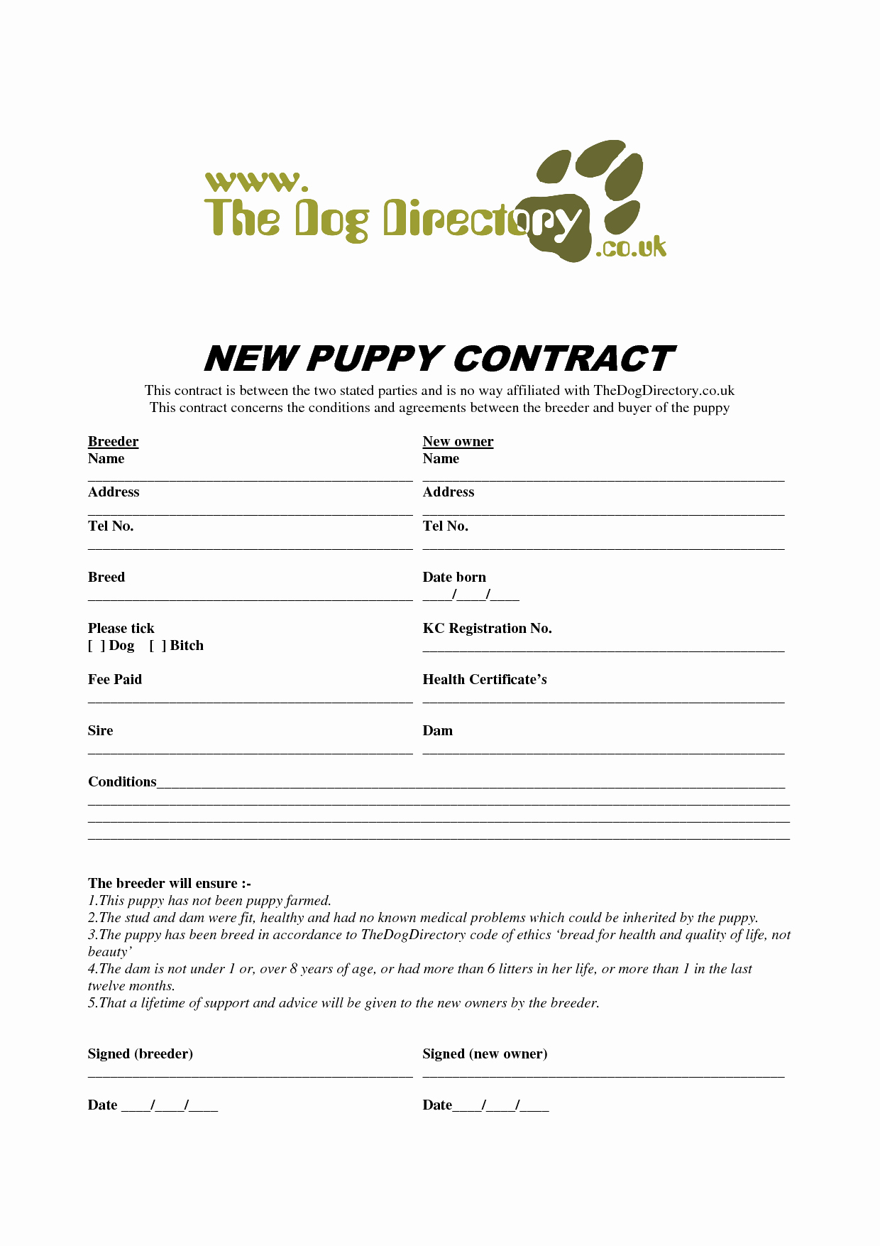 8 Best Of Free Printable Puppy Purchase Agreement