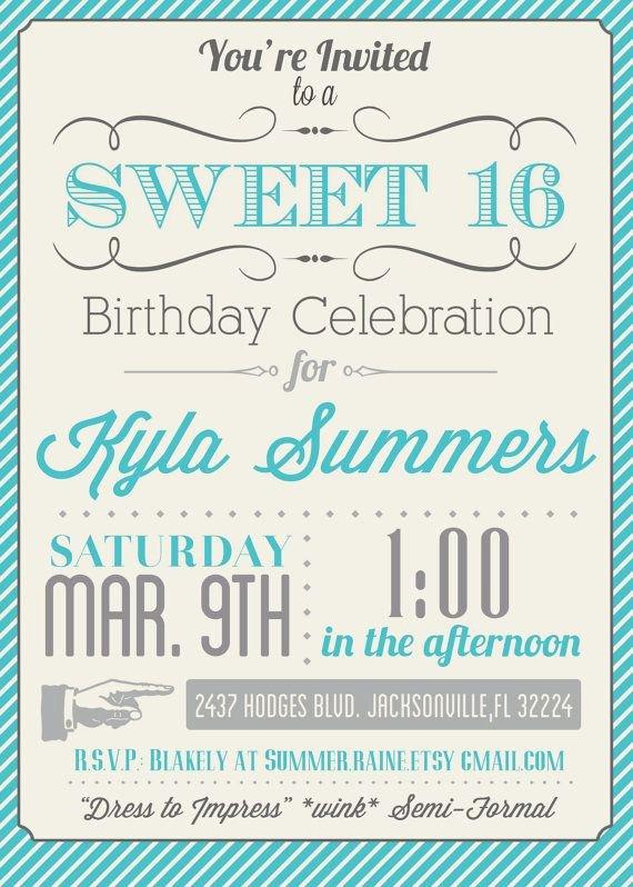 8 Best Of Free Printable Sweet 16 Invitations