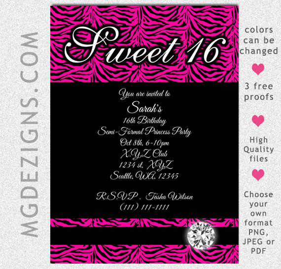 image about Free Printable Sweet 16 Invitations titled 8 Excellent Of Cost-free Printable Cute 16 Invites Latter
