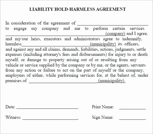 8 Best Of Hold Harmless Agreement form Free Hold