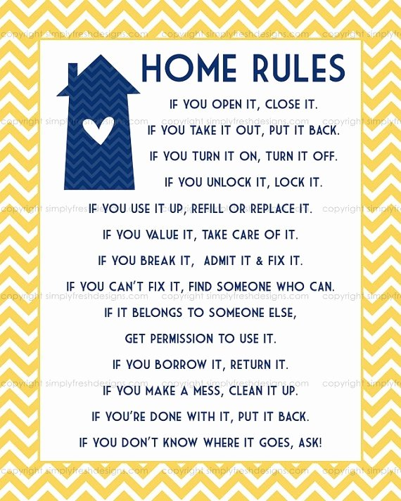 8 Best Of House Rules Printable for Guests Family