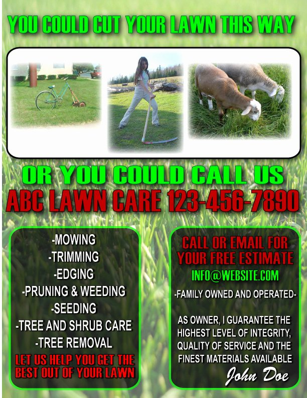 post lawn care flyers printable