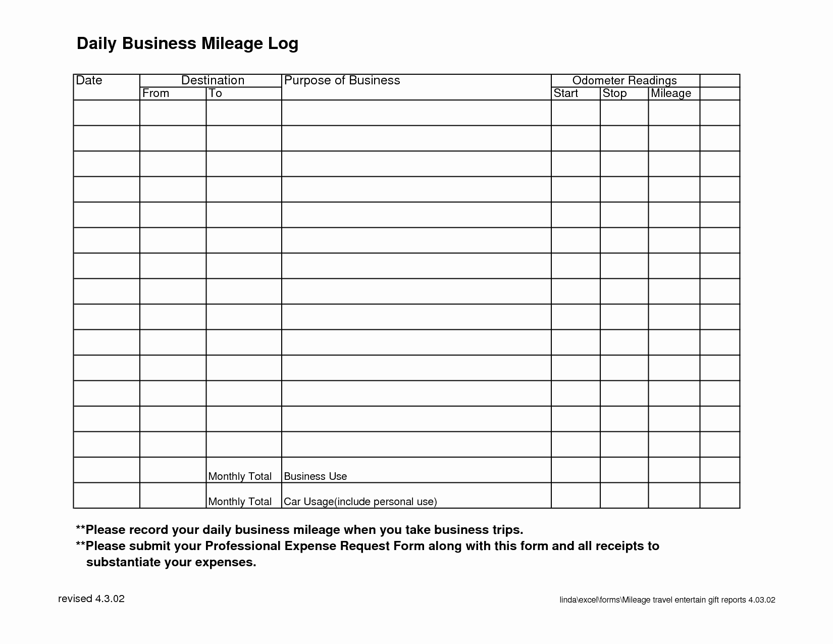 8 Best Of Monthly Mileage Log Template Printable