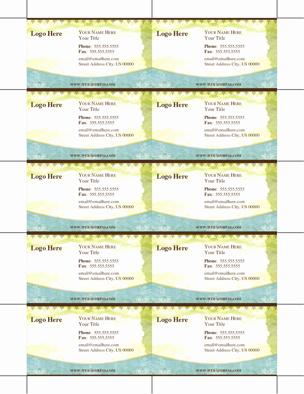 8 Best Of Printable Business Card Template