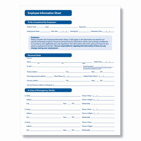 8 Best Of Printable Employee Information form New