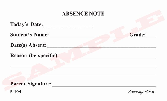 8 Best Of Printable for School Absence Excuses