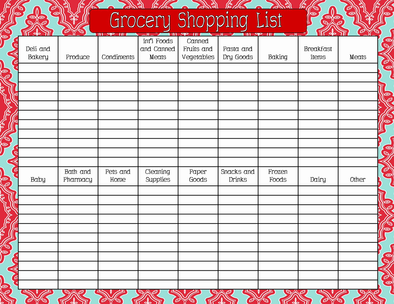 8 Best Of Printable Grocery List by Aisle Free