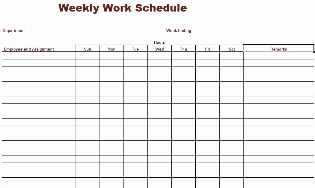 8 Best Of Printable Weekly Work Schedule Blank